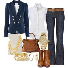 love the jeans with white shirt and boots - don't like this blazer too much