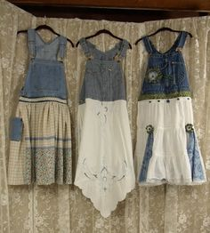 Upcycled Overalls Apron or Jumper Size 6