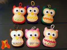 Little felt owls, for bag, backpack or keychain...