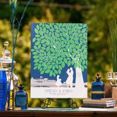 #weddings #paperramma #guestbook #nature #trees #leaves #unique #love #couple #personalized #green Wedding-Guestbook