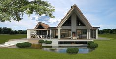 Gallery of Modern Countryside Villa / Maas architecten - 7 Thatched House, Modern Prefab Homes, Villa, A Frame House, Unusual Homes, Mansions Homes, Luxury Homes Interior, Location, Future House