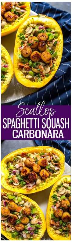 This Low Carb Scallop Spaghetti Squash Carbonara is made with turkey bacon, peppers and mushrooms with a delicious cream sauce for an easy weeknight dinner!