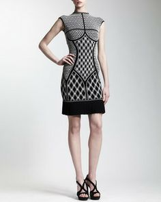 Alexander McQueen Pleated-Hem Printed Knit Dress on shopstyle.com,  trending styletheories.com the fashion muse blog