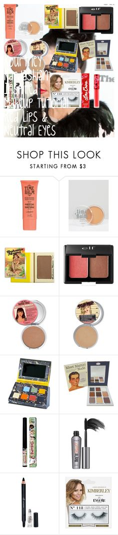 """""""Kourtney Kardashian Inspired Makeup Tutorial ❤ Red Lips & Neutral Eyes ❤"""" by oroartye-1 on Polyvore featuring beauty, TheBalm, e.l.f., Lime Crime, Benefit and 118"""