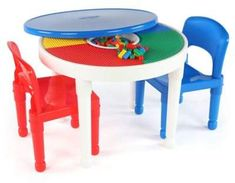 Tot Tutors 2-In-1 LEGO®-Compatible Activity Table and Chairs Set  sc 1 st  Pinterest & Kids Dining Table Chair Set Lego Building Blocks Picnic Table Desk ...