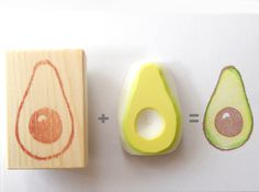 Avocado Rubber Stamp set of 2. (Not including ink pads, if you need them please send me a message.) These stamps are outline stamp and color part stamp.  How to stamp! 1. Please stamp outline avocado stamp. (Wooden handle stamp) 2. Please stamp color part stamp on top of the avocado print.  You can make a lots of avocados! These are very funny and cute. If you would like me to make another vegetable or fruits, I can make it specially for you. I am always taking custom order.  Stamp…