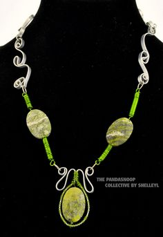 Lime Green Swirl Fantasy necklace from The Pandasnoop Collective by ShelleyL. by ShelleyLChalmers on Etsy