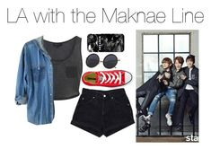 """""""LA with the Maknae Line"""" by kookiechu ❤ liked on Polyvore featuring Converse and Mr. Gugu & Miss Go"""