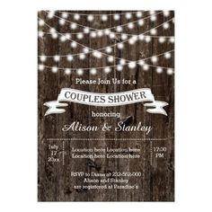 Rustic string of lights and vintage banner on old wood summer wedding couples shower invitation featuring a white banner with brown outline on old brown wood background. This modern and trendy wooden wedding template design with vintage elements is part of a wedding set or collection, is fully customizable and is perfect for an outdoor summer night barn western rustic wedding. Note that there is ... * Click the image for more details #WeddingShowerInvitation