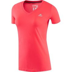 adidas Women's Ultimate V-neck T-Shirt, Size: Small, Flash Red