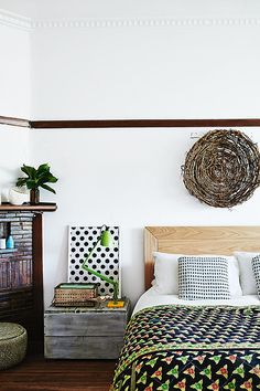 @Nikki Harrison Kinda love this simple modern headboard/basket over headboard/rustic quilt combo for you.