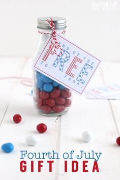 Cute 4th of July gift idea with printable included.