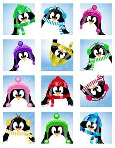SALE Cute Christmas Pinguin CS04 2 inch printable by manuna, $2.00