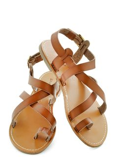 At Your Leisure Sandal - Brown, Boho, Flat, Leather, Solid, Casual, Beach/Resort, Faux Leather, Summer