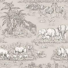 View Watering Hole Taupe Animal Safari Metallic Wallpaper details