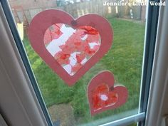 A simple Valentine's Day craft for toddlers - how to make some heart sun catchers using sticky backed plastic and scraps of coloured tissue paper. Valentine's Day Crafts For Kids, Toddler Crafts, Art For Kids, Children Crafts, Easy Valentine Crafts, Love Valentines, Sun Catchers, Nifty Crafts, Love Craft