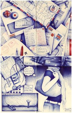 Original drawings, zines and signed prints by Andrea Joseph. Biro Art, Ballpoint Pen Art, Drawing Sketches, Drawings, Sketching, Cool Notebooks, Journals, Scrapbooks, Artist Journal
