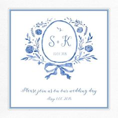 Wedding invitation with a blue floral frame