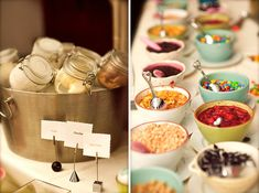 What's not to love about an ice cream sundae bar? Guests will have fun pairing their ice cream with their favorite toppings! Ice Cream Wedding, Ice Cream Party, Sundae Bar, Br Ice Cream, Eye Candy, National Ice Cream Month, Best Party Food, Stewart, Ice Cream Toppings
