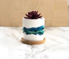 Succulent Planter Blue Watercolor // white ceramic planter round planter hostess gift housewarming gift gifts under 30 alcohol ink Small Candle Holders, Small Candles, White Ceramic Planter, Painted Plant Pots, Alcohol Ink Crafts, Diy Planters, Resin Planters, Succulent Planters, Hanging Planters