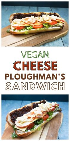 Vegan Cheese Ploughman's Sandwich is based on a British pub classic. It's given a plant-based twist to make a filling lunchtime sandwich.  #veganlunch #veganlunchideas #veganlunchbox #veganlunchboxideas #veganlunchrecipes #veganlunchideasforwork Vegan Lunch Box, Vegan Lunch Recipes, Vegan Lunches, Dairy Free Recipes, Vegan Food, Vegan Sauces, Vegan Dishes, Ploughmans Sandwich, Vegan Supermarket