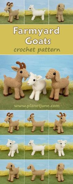 Mix-and-match Farmyard Goats pattern amigurumi crochet pattern. Choose ears, horns, beard and colours to make a variety of cute and realistic goats.