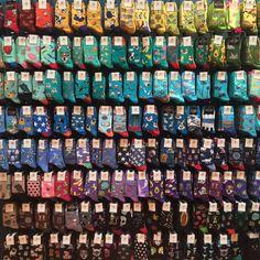 We can't promise it will be an easy decision, but we can promise it will be a fun one to make! Funky Socks, Crazy Socks, Cute Socks, Colorful Socks, My Socks, Happy Socks, Sock Display, Mochila Kanken, Vsco