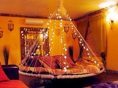 Trampoline Bed with lights in a room