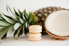 Pina Colada Macarons: Coconut Shell with a pineapple buttercream