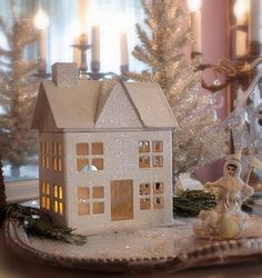 Glitter House on a silver tray...pine and mica flakes for sparkling snow