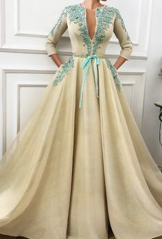 Vintage Dresses Gown - Teuta Matoshi Duriqi - Details - Creamy color - Mesh Net fabric - Handmade embroidered flowers and crystals - Handmade embroidered belt - Ball-gown style Evening Dresses, Prom Dresses, Formal Dresses, Lace Dresses, Vintage Dresses, Elegant Dresses, Pretty Dresses, Hijab Fashion, Fashion Dresses
