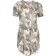 Nly Trend Camo Tee Dress ($30) ❤ liked on Polyvore featuring dresses, vestido, camouflage jerseys, camo dresses, loose fitting dresses, short sleeve dress and jersey t shirt dress