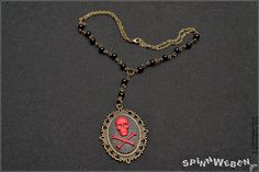 Gothic Skull Bust Amulet  necklace locket setting by SpinnWeben, €23.00