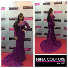 Happy customer at Nina's Collection Boutique. This long beaded full sleeve dress with lace tail is now available at Nina's Collection Boutique from size Colours: Purple, Royal-blue. Collection Couture, Size 00, Royal Blue, Lace Dress, Colours, Boutique, Formal Dresses, Purple, Happy