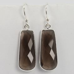 Real SMOKY QUARTZ Checker Gemstones 925 Solid Sterling Silver Fabulous Earrings…