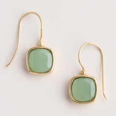 Green Square Drop Earrings   World Market I'm putting this just as an example but I would love any World Market Jewelry (Earrings, Bracelets, Necklaces)! In fact, I would love anything from that store!