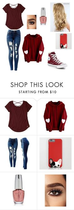 """I'm a Gryffindor"" by leilaferkett ❤ liked on Polyvore featuring Hollister Co., OPI and Converse"