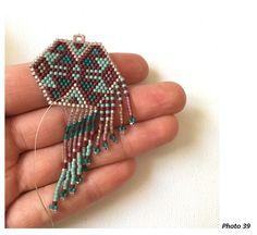 Schema Boucles d'oreilles tissées en perles Miyuki Delicas style amérindien en Brick Stitch