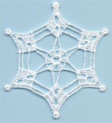 Snowflake 5 - free standing lace machine embroidery, designed to look like crochet; looks better with heavier thread or 2 threads through the needle