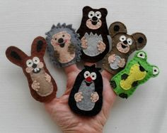 Items similar to Animal finger puppets: The Little Mole and his friends, Felt animals, Felt puppets on Etsy Felt Puppets, Felt Finger Puppets, Craft Stick Crafts, Felt Crafts, Diy Crafts, Three Little Piggies, Diy For Kids, Crafts For Kids, Finger Puppet Patterns