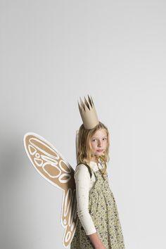 Garden Fairy Costume with DIY cardboard wings.