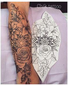 Best Sleeve Tattoos, Sleeve Tattoos For Women, Tattoo Sleeve Designs, Flower Tattoo Designs, Tattoo Designs For Women, Mandala Tattoo Sleeve Women, Tattoo Sleeves, Tattoos Partner, Couple Tattoos