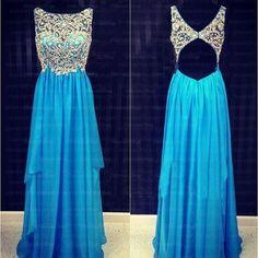 Blue backless prom dress, long prom dress, online prom dress, beautiful prom dress, prom dresses 2016, 16070