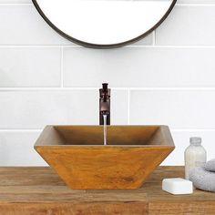 Uriah Square Cast Concrete Vessel Sink - Vintage Brown – Magnus Home Products Concrete Sink, Concrete Bathroom, Concrete Design, Cement, Concrete Projects, Pedestal Sink, Vanity Sink, Vessel Sink, Bathroom Sets