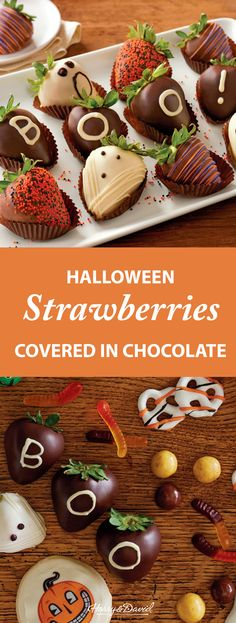 Our Halloween Hand-Dipped Chocolate-Covered Strawberries are dipped into Belgian chocolate and decorated by hand. These chocolate-covered berries are truly elegant Halloween treats.