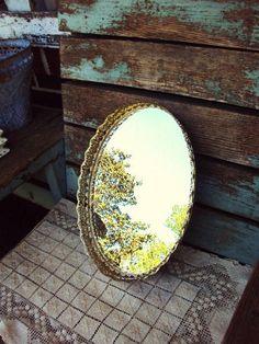 Vintage Mirror Vanity Tray Ormolu Style Filagree Metal Frame