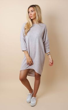 Slouchy Fleece Loungewear Sweater Dress Stone - SilkFred