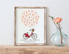 18th Birthday Guest Book, School Bike Fingerprint Guestbook, Red Bicycle Baby Shower Sign in Book 21st, Printable Personalized Custom Print