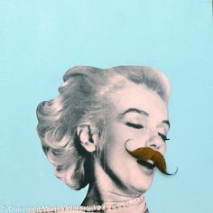 'SOLD.Tash 7' / Original collage Marilyn Monroe and Moustaches / Acrylic paint and paper collage on 40 x 40 x 4 cm canvas