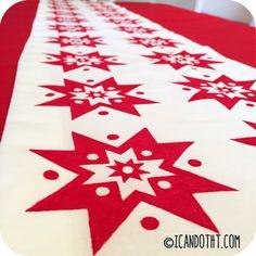 DIY Swedish inspired Christmas table runner on icandotht.com!